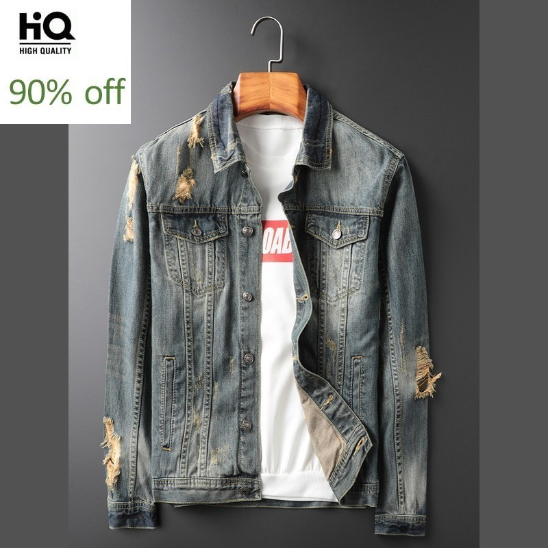 Autumn New Ripped Hole Denim Coat Men Casual Slim Fit Personality Washed Jean Jacket Vintage Blue Long Sleeve Biker Jaqueta