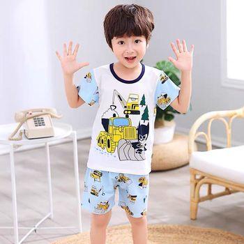 2 uds. Conjuntos de Pijamas de algodón de manga corta para niños y niñas, ropa de dormir para niños con diseño de dinosaurio