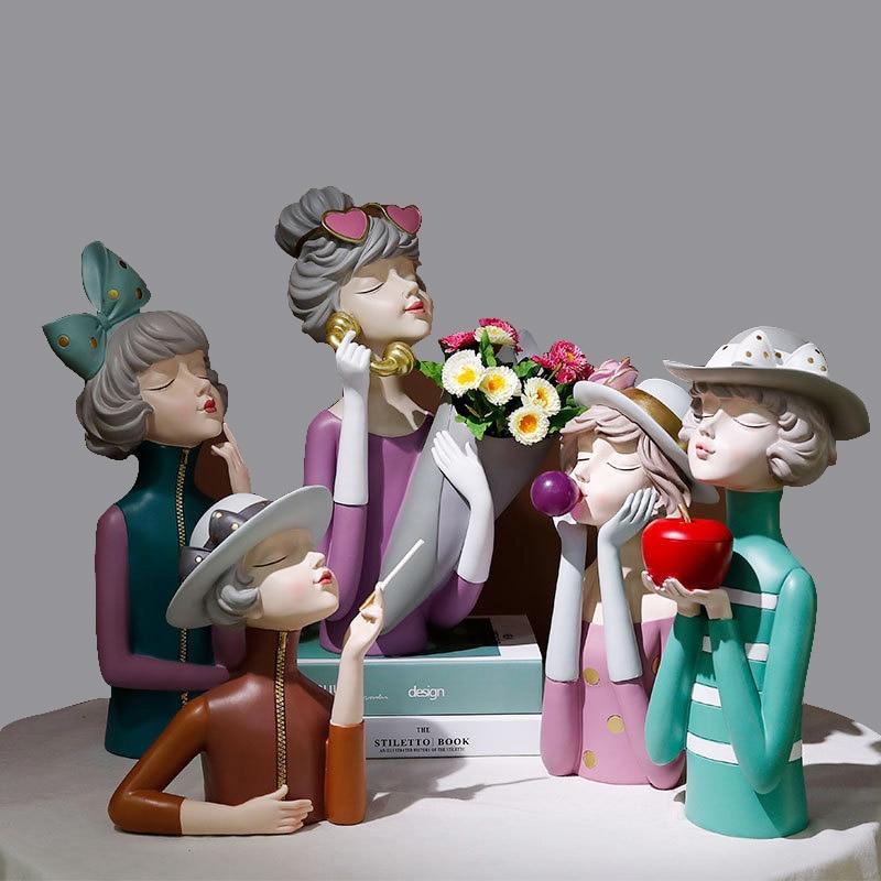 Nordic soprando bolha menina resina estátua decoração do quarto escultura casa sala de estar decoração acessórios mesa estatueta ornamentos