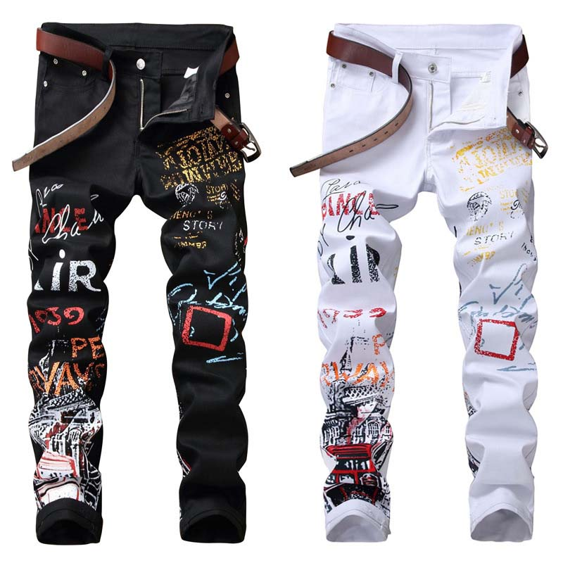 KIOVNO Fashion Men's Hip Hop Painted Denim Trousers Slim Fit Stretch Jeans Pants For Male Straight Letter Printed