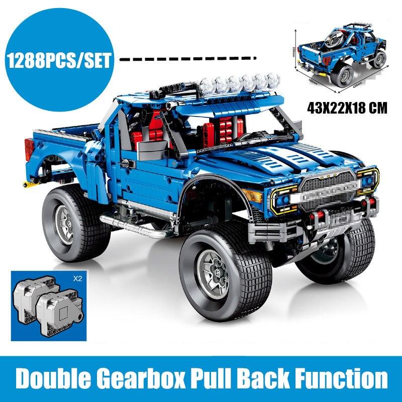 New Classic Racing Ford F 150 Raptor Pickup Car Truck Fit Legoings Technic City Model Building Blocks Diy Set Kid Boy Gift Toy