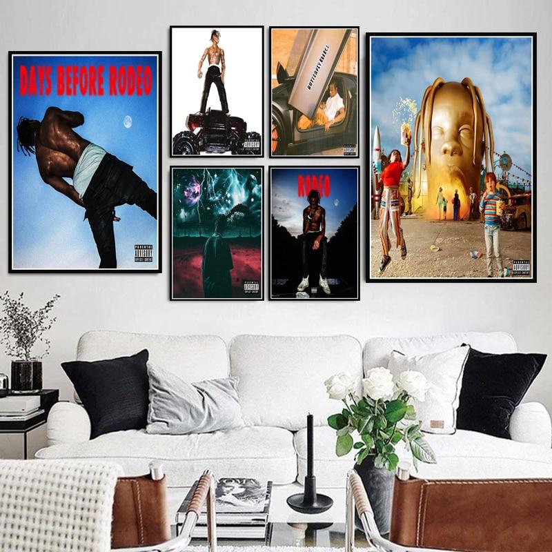 Travis Scott Astroworld Rodeo DAYS Rap Music Album Star Poster Prints Art Canvas Painting Wall Picture Home Decor quadro cuadros