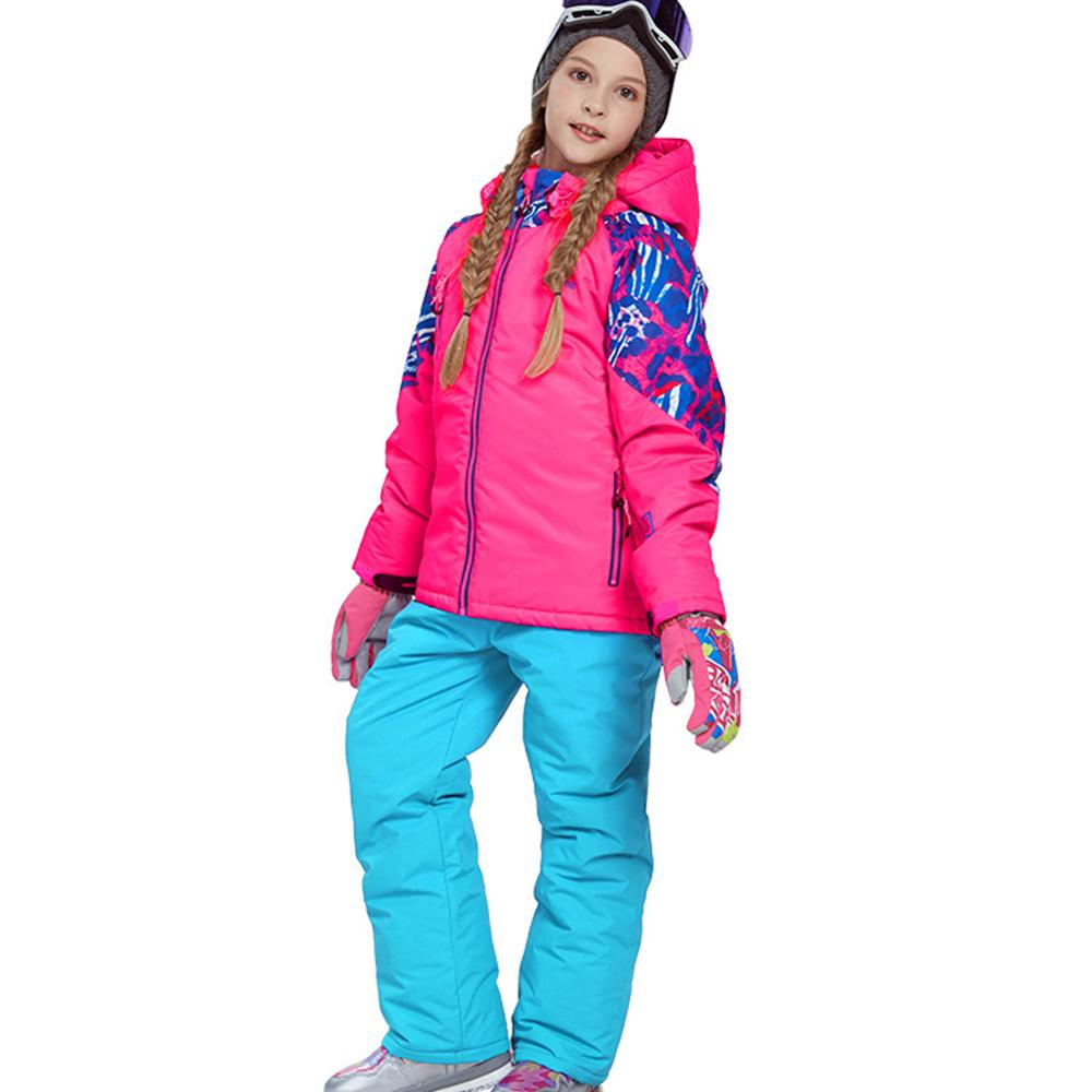 Winter Sportswear Girls Ski Wear Set Thicken Warm Outerwear Windproof Waterproof Jacket + Strap Trousers Suit Hooded Snowboard
