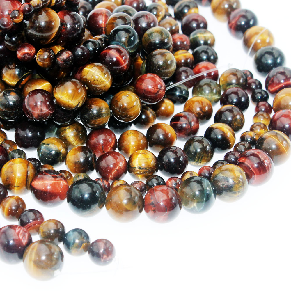 <font><b>Bulk</b></font> Wholesale Mixed Color Tiger Eye Natural Stone <font><b>Beads</b></font> Round Loose <font><b>Beads</b></font> 4 6 <font><b>8mm</b></font> 10mm 12mm for Needlework Jewelry Making image