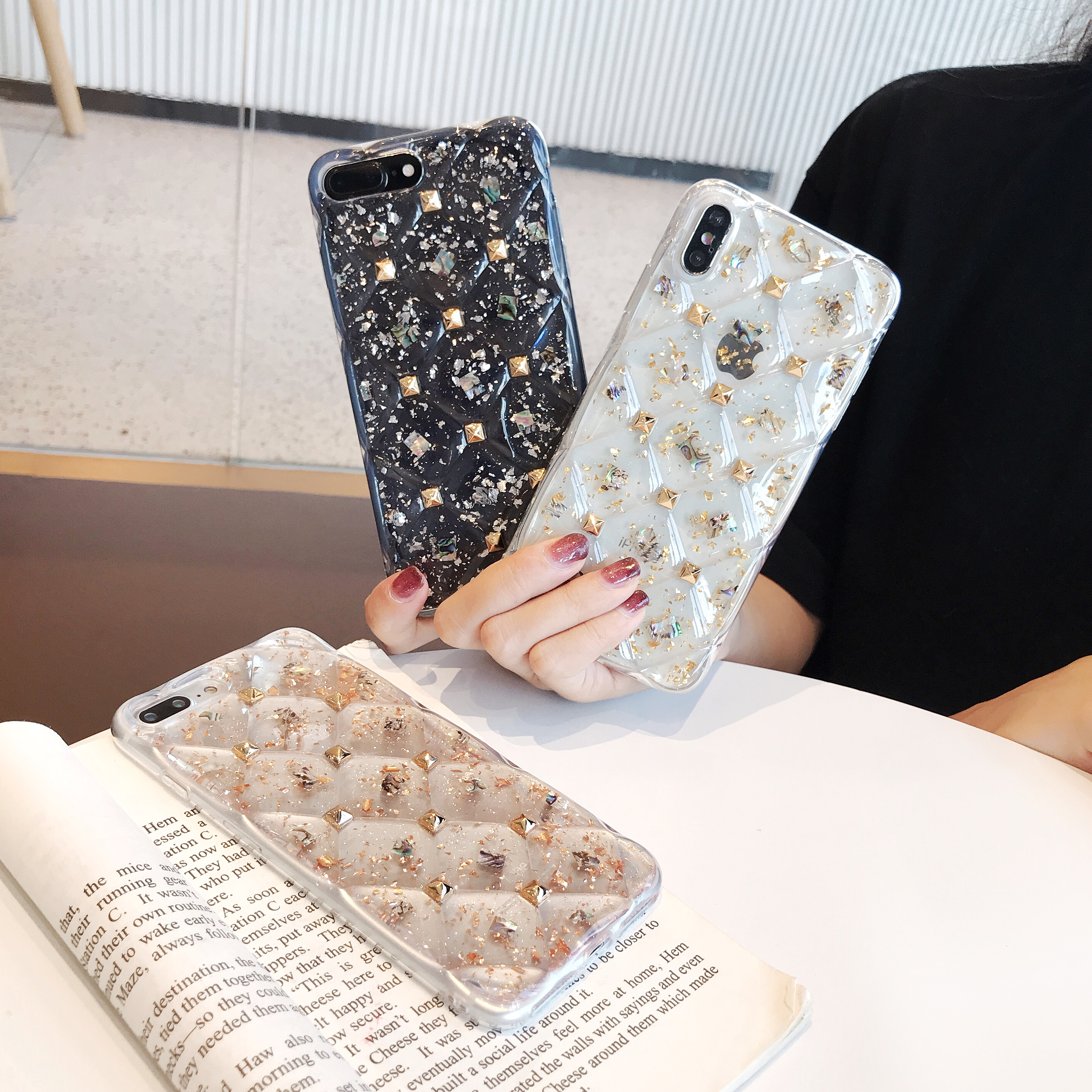 Luxury Diamond Foil Glitter Bling Phone Cases For iPhone 6s 6 7 8 Plus XS MAX XR 10X Fashion Transparent Back Cover Capa