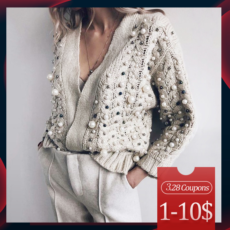 Beading Designer Cardigan Women Sweater Winter Autumn 2020 Fashion Brand Plus Size Knitted Sweaters Female Outwear Casual Tops