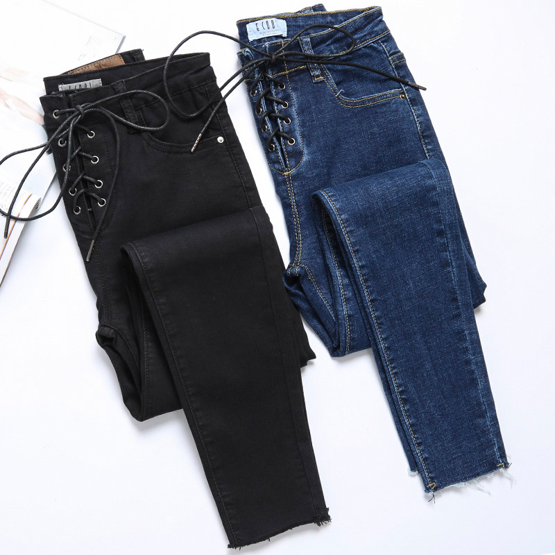 Fashion High Waist Jeans For Women Korean Slim Stretch Pencil Pants Black Denim Jean Lace-up Bandage Ladies Blue Skinny Jeans