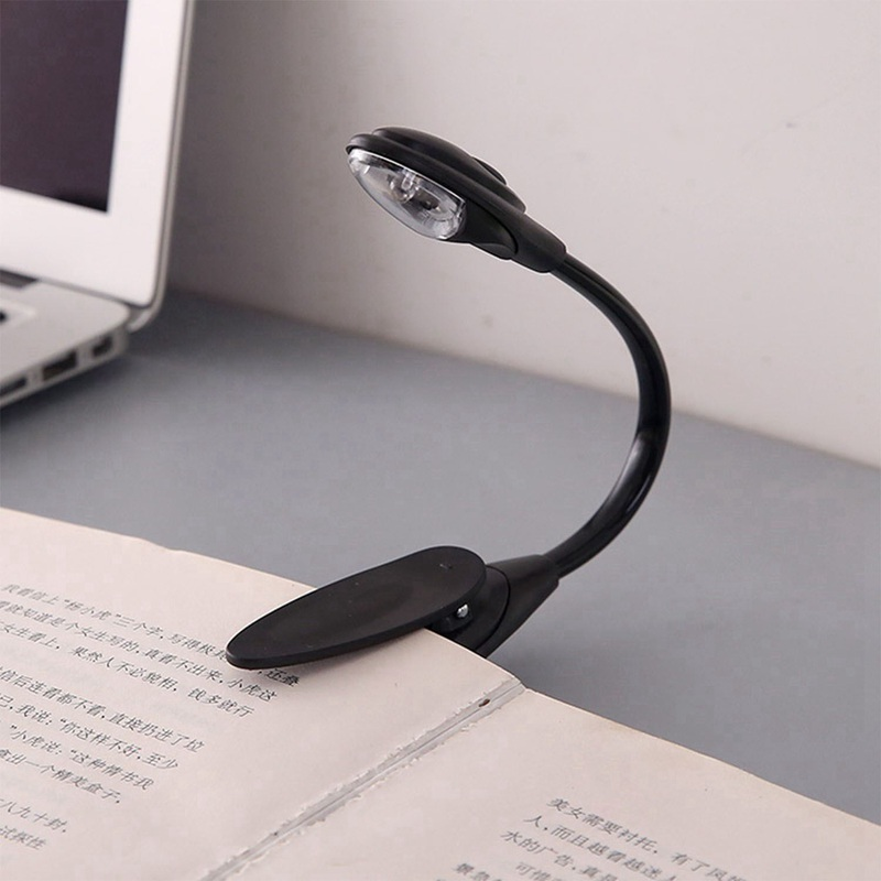 Mini Flexible Clip-on Bright Booklight LED Travel Book Reading Lamp White Light Book Holder Small Table Lamp Light Small Gifts B
