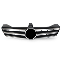 For Mercedes Benz W219 CLS500 SLS600 CLS Class 2004 2005 2006 2007 Glossy Black 3 Fins Front Grille Grill WITH EMBLEM
