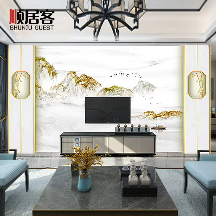 Shun Live Off Living Room Television Background Wall Jane Light Luxury Quintana Marble Bordered Design Wall Panel Overall Custom