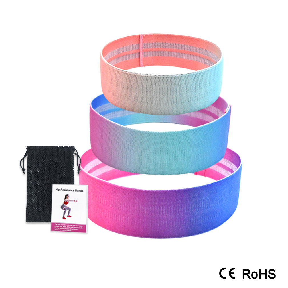 3PC  Size Hip Band Cotton Yoga Resistance Band Wide Fitness Exercise Legs Band Loop For Circle Squats Training Anti Slip Rolling