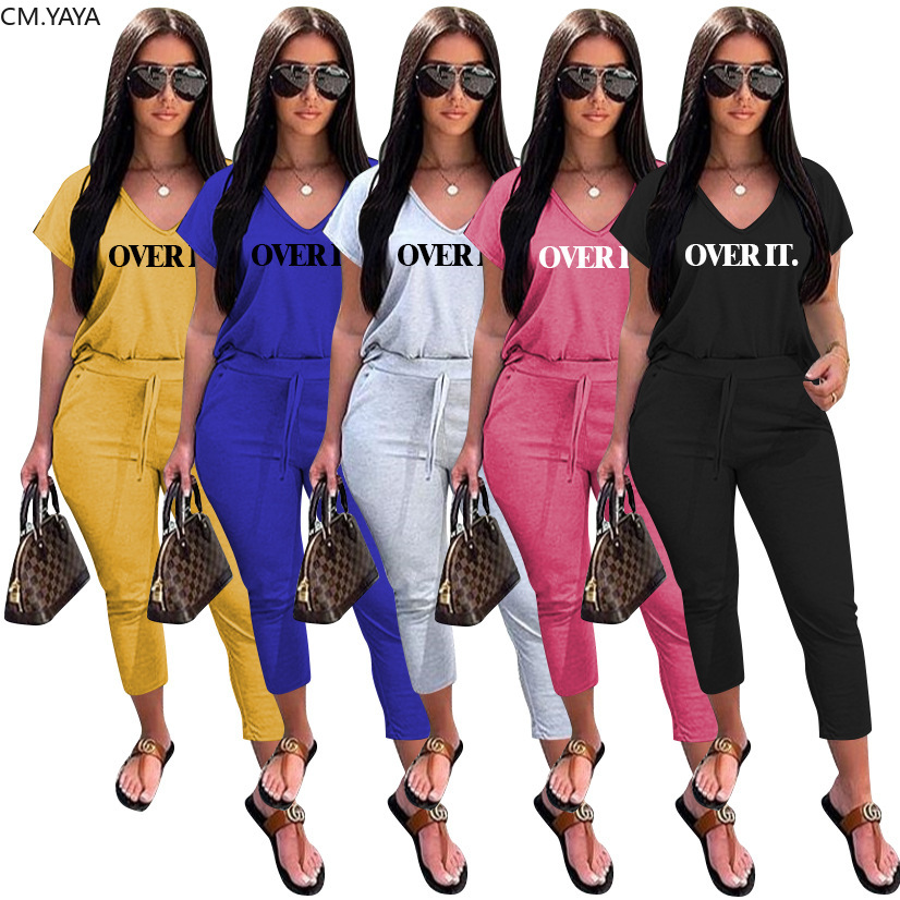 CM.YAYA sommer mode Frauen overit brief v-ausschnitt t top bleistift jogger jogginghose anzug zwei stück set sport passenden set outfit