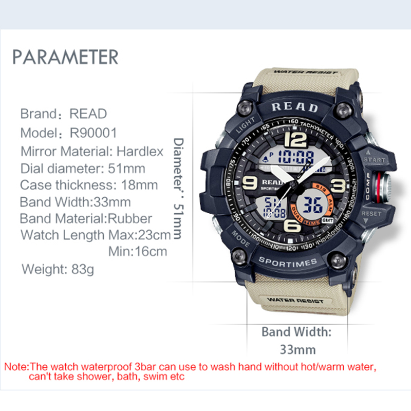 H647e3421bb1c4e6fb3c055a832f8c3af6 - READ Sport Watches for Men Waterproof Digital Watch LED Large Dail Luminous Clock Montre Homme Military Big Men Watches