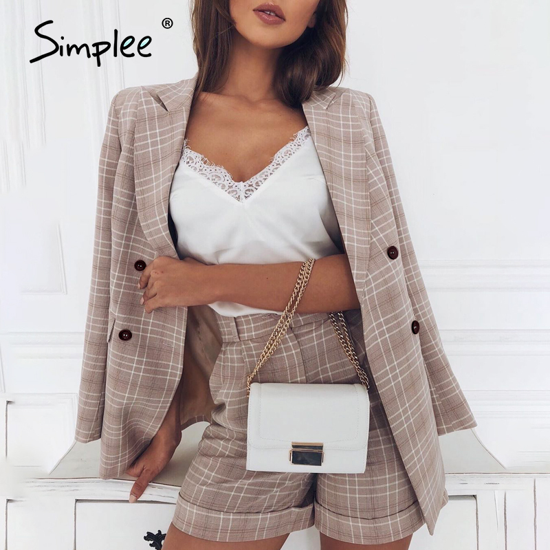 Simplee Two-piece Blazer Women Suits Double Breasted Plaid Casual Female Blazer Shorts Set Elegant Office Ladies Blazers Sets