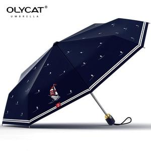 Image 2 - Olycat kobiet automatyczny parasol ochrony przeciwsłonecznej jachtu styl trzy składane parasol deszcz kobiety aluminium wiatroszczelna 8 K granatowy Paraguas