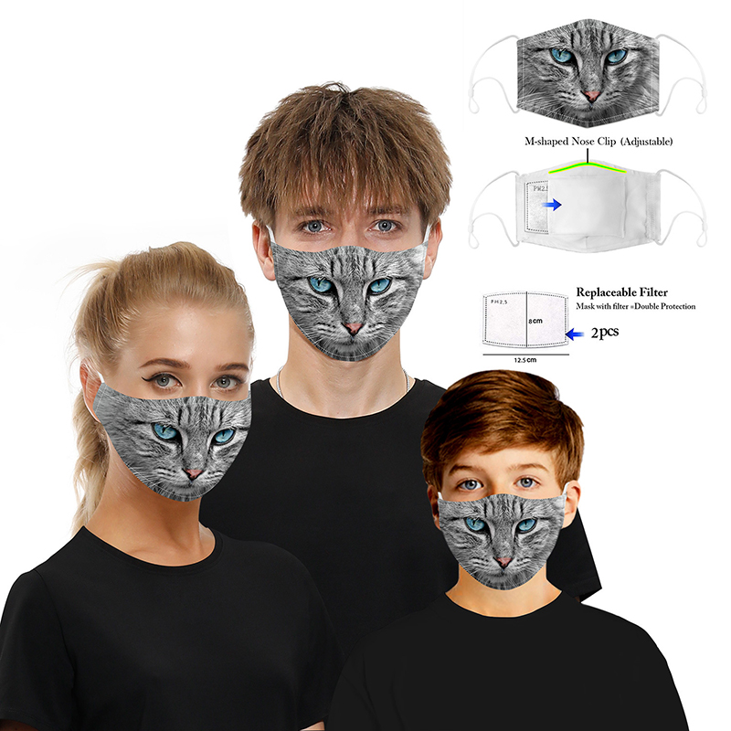 Mask Adult Hanging Ear Adjustment Mask Cat Printing Mask Can Be Cleaned Breathable Cotton Breathing Valve PM2.5 Mask