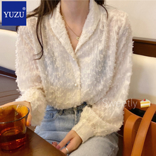 цена на Sexy Lace Tassel Women Shirts Pearl Button Single Breasted Long Sleeve Ladies Tops Office Casual Work Turn-down Collar Blouse