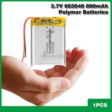Bateria 3.7 mah 800 v 603040 li de iões de lítio-polímero bateria Recarregável de bateria Para PAD DVD E-book bluetooth headset acumulador