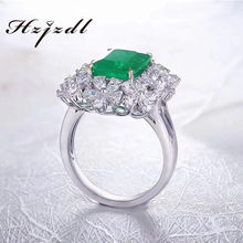 Fine jewelry 9K gold Lab grown emerald rings Luxury style for women(China)