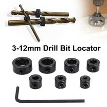 8pcs/Lot 3-12mm Drill Bit Carbon Steel Drill Bit Limiter Locator Ring Depth Stop Collar Ring Positioner Hex Wrench Woodwork Tool(China)