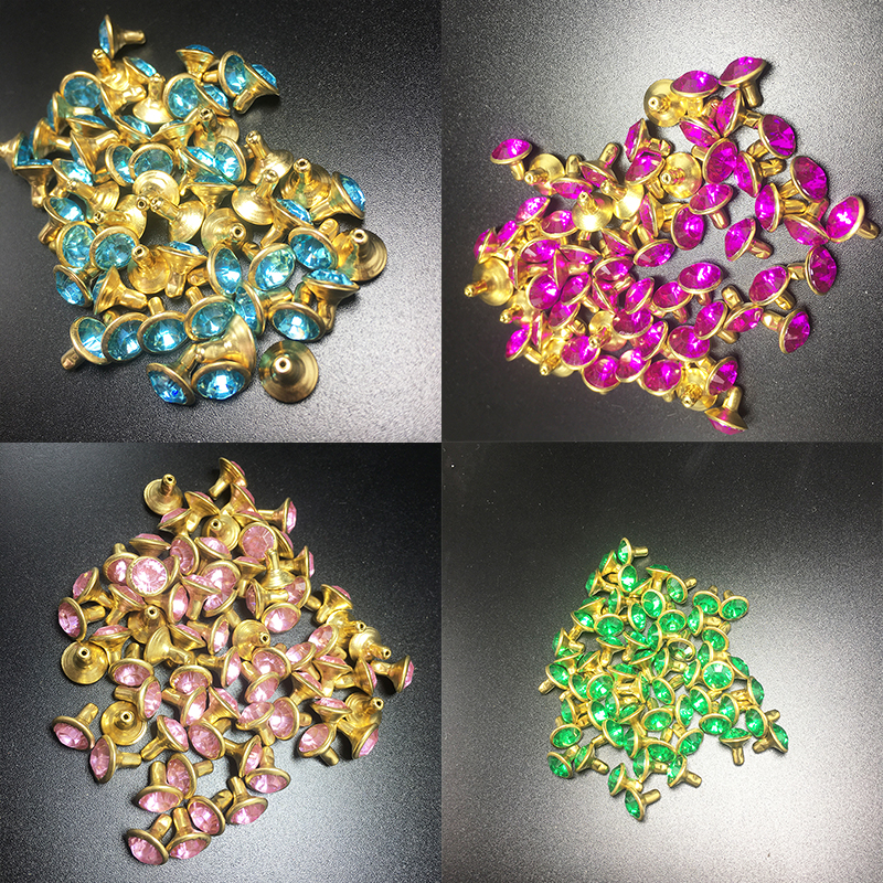 50sets 8mm Mix Color Crystal Rhinestone Gold Rivets Diamante Stud DIY Crafts Clothing Leather Decor Rebite Spikes Glass Button