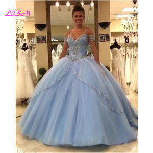 Image 2 - Luxury Crystals Ball Gown Quinceanera Dresses Sweetheart Long Sweet 16 Princess Dress Puffy Tulle Prom Party Gowns Custom Made