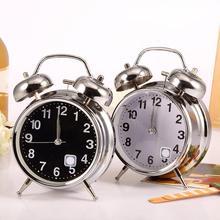 Reloj despertador Vintage con doble cascabel y número redondo con puntero silencioso, reloj despertador con luz nocturna, mesa de noche, reloj decorativo para el hogar
