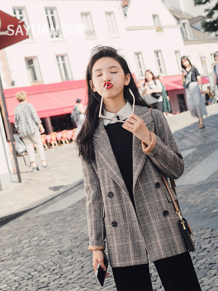 Plaid Stylish Ladies Blazer Gray Loose Casual Vintage Suit Jacket Veste Femme Longue Korean Women Blazer Spring Autumn MM60NXZ