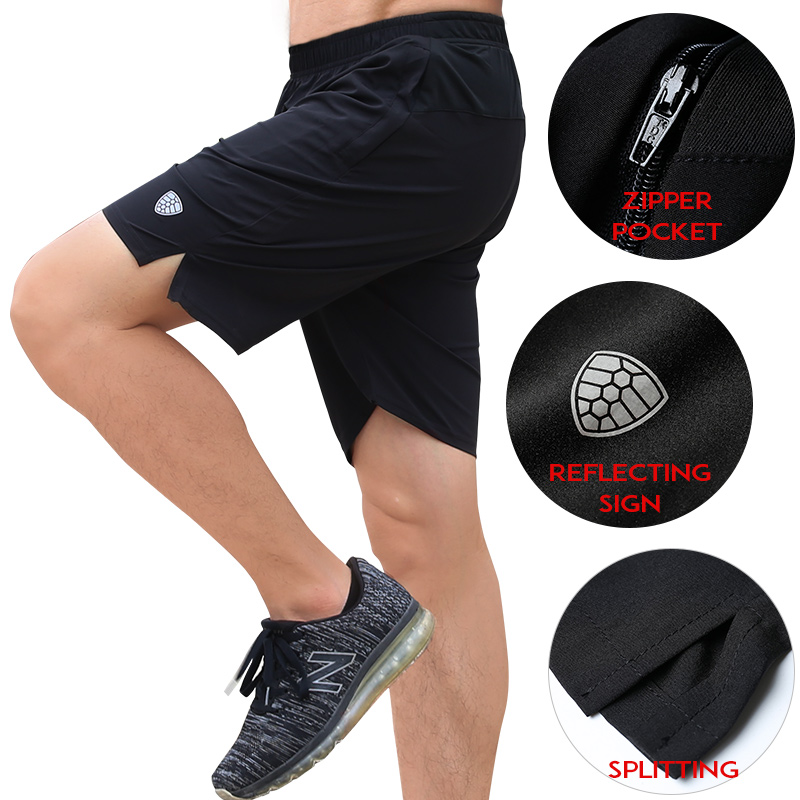 FANNAI Men Sports Running Shorts Training Soccer Tennis Workout GYM Quick Dry Breathable Outdoor Jogging Shorts With Zip Pocket