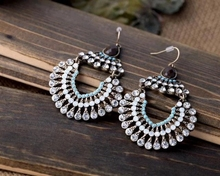 Fashion Bohemia Ethnic Style Tibetan Color Multicolor Enamel Rhinestone & Resin Beaded Statement Big Drop Earrings Jewelry
