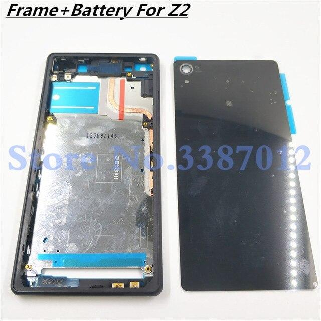 เต็มรูปแบบสำหรับ Sony Xperia Z2 L50w D6503 D6502 LCD แผงกลางกรอบแบตเตอรี่ประตูปุ่มด้านข้าง
