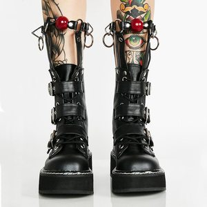 Image 3 - Coolcept Plus Size 35 45 Real Leather Mid Calf Boots Women Zip Buckle Strap Rivets Shoes Punk Thick Bottom Gothic Designer Shoes