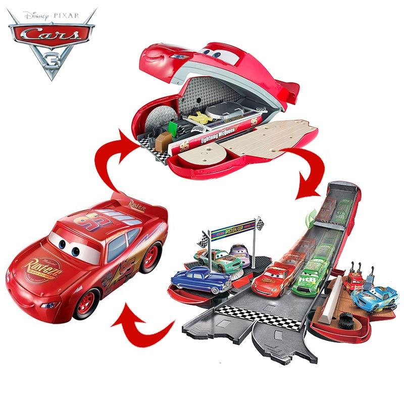 Оригинальные машинки Disney Pixar «Тачки 3», трансформирующая Молния Маккуин, трюки, слайд-трек, игрушка для детей и мальчиков, подарок на день рож...