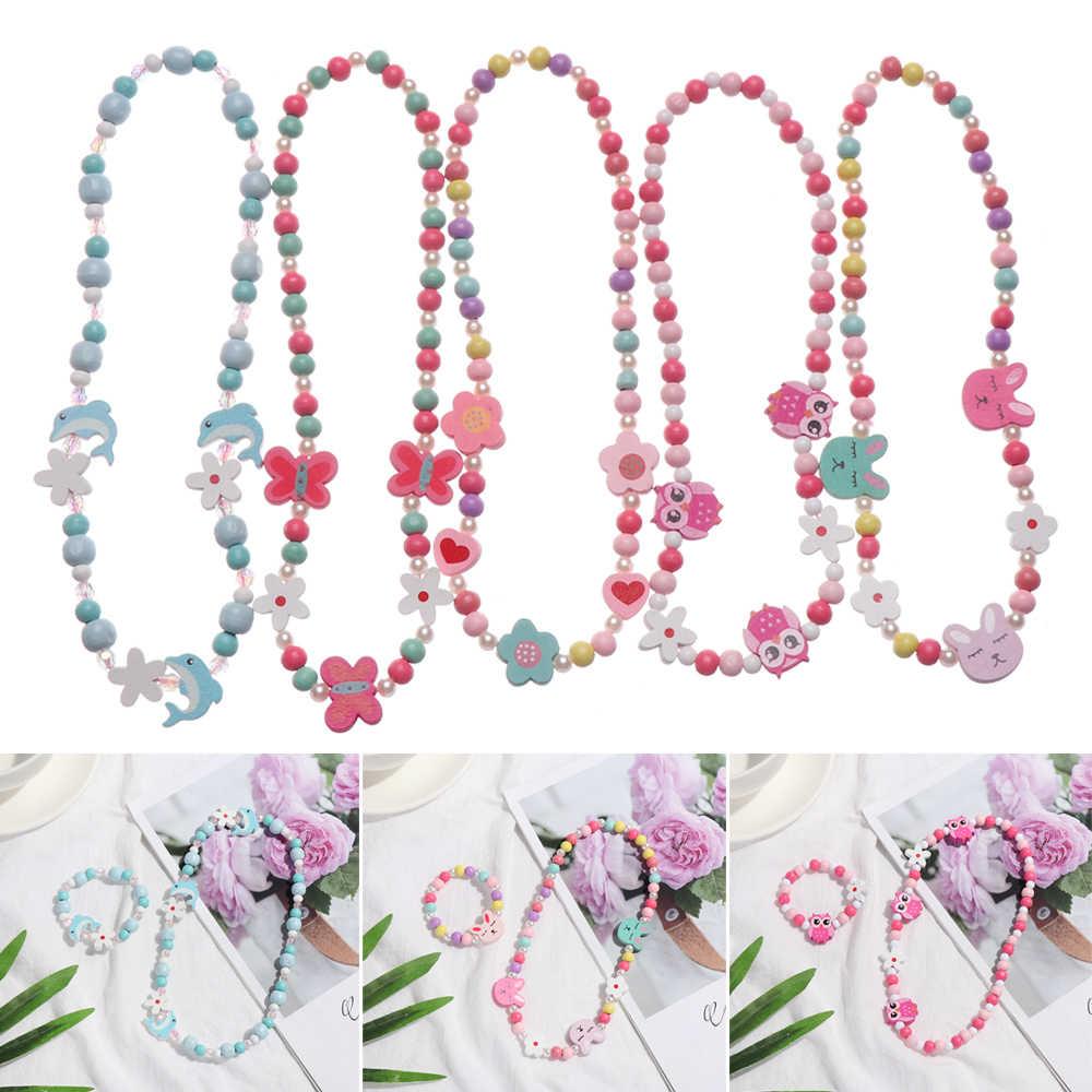 1 Set Manik-manik Mainan Kalung + Gelang Kupu-kupu Bunga Bayi Buatan Tangan Kalung Aksesoris Putri Anak-anak Hadiah Ulang Tahun