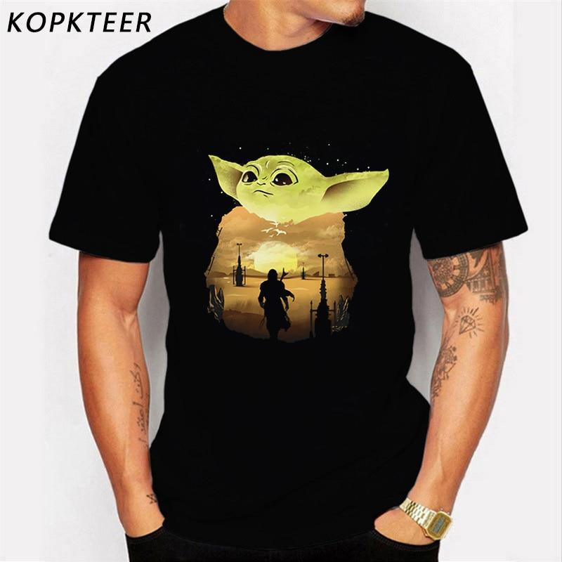 Lovely Baby Yoda Mandalorian Tees Men 100% Cotton Streetwear Yoda T-Shirts Cool Tee Shirt Homme Gift Idea Merchandise
