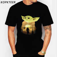 Schöne Baby Yoda Mandalorianer Tees Männer 100% Baumwolle Streetwear Yoda T-Shirts Cool T Hemd Homme Geschenk Idee Waren