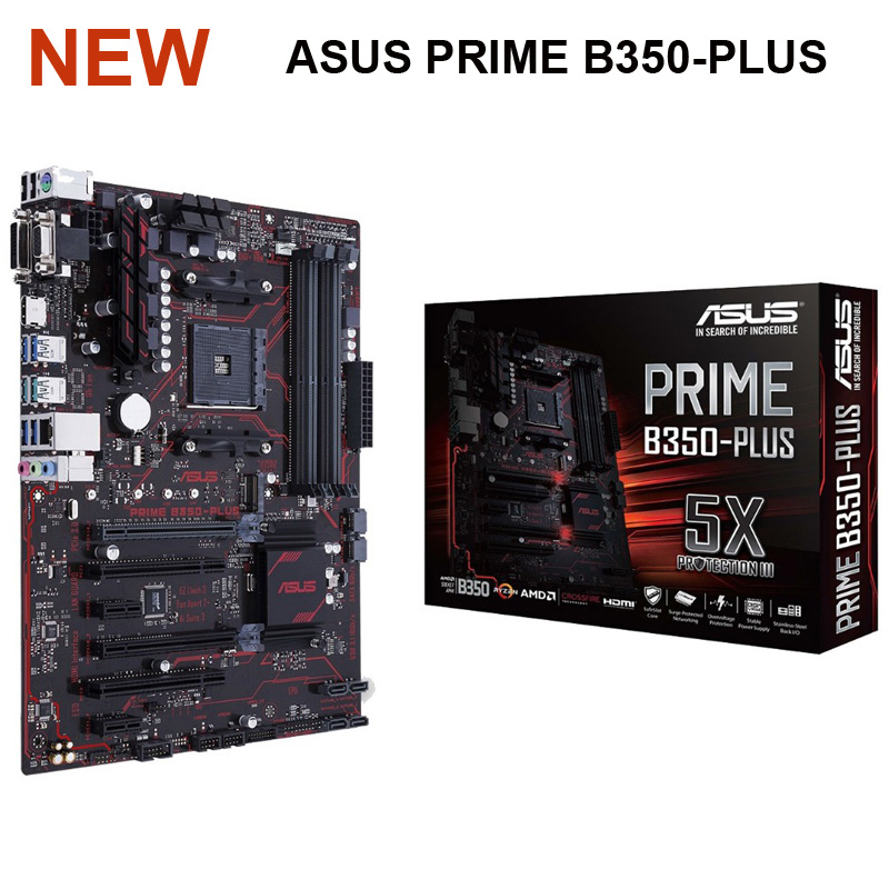 Новая Asus PRIME B350-PLUS системная плата AMD B350 Socket AM4 DDR4 64GB M.2 настольная B350 материнская плата USB3.1 PCI-E 3,0 AM4 DDR4 ATX image
