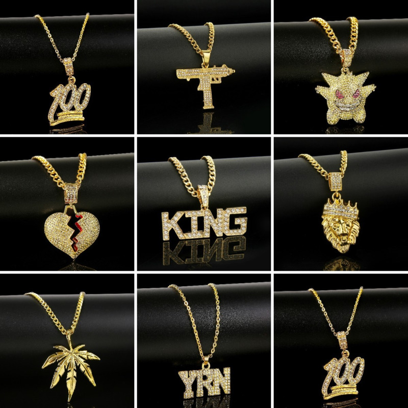 Punk Hip-Hop Zircon Pendant Necklaces For Men Women Gold Color Long Chain Bling Crystal Rhinestone Hip Hop Fashion Male Jewelry