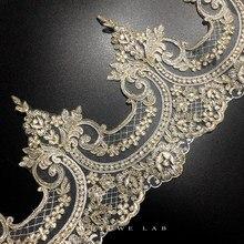 Delicate 1Yard Gold Cording Fabric Flower Venise Venice Mesh Lace Trim Applique Sewing Craft For Bride Wedding Dresses 22cm