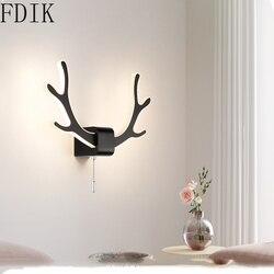 Nordic głowa jelenia kinkiety Loft światła salon kreatywny nowoczesne korytarze schody proste sypialnia lampki nocne Led akrylowe kinkiety