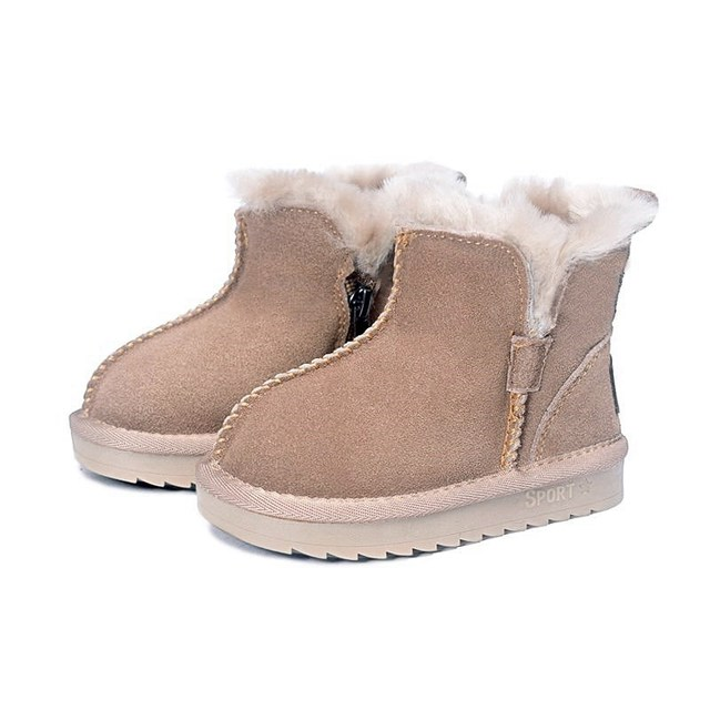 2020 New Winter Children Snow Boots Genuine Leather Wool Girls Boots Plush Boy Warm Shoes Fashion Kids Boots Baby Toddler Shoes