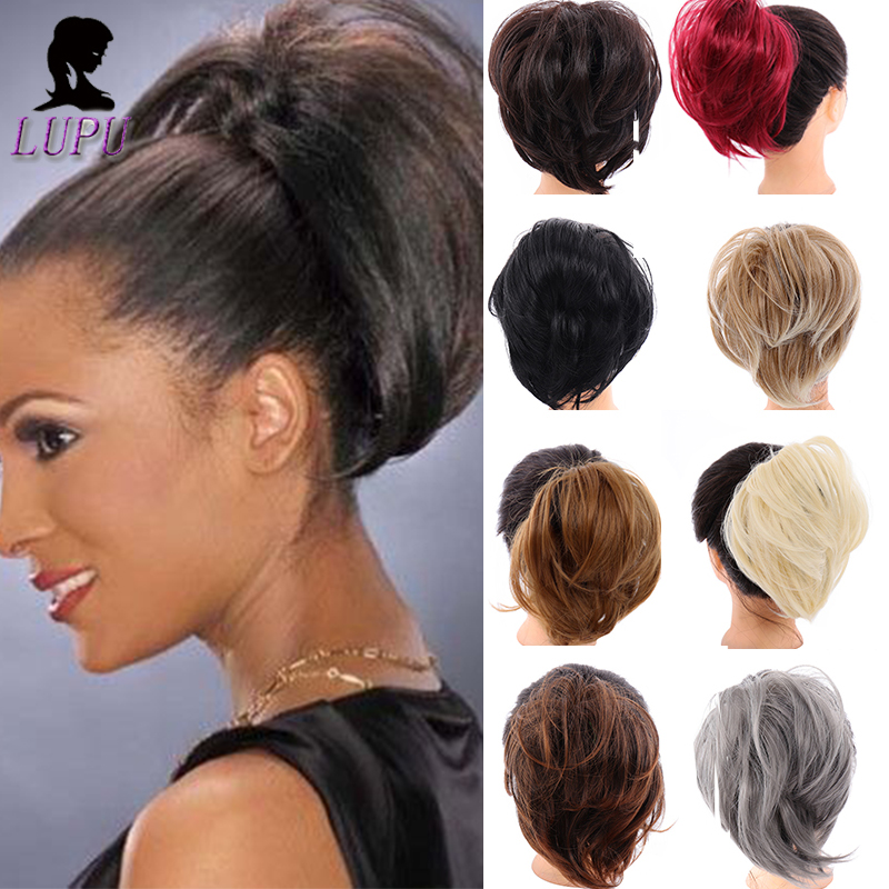 LUPU Short Straight Chignon With Elastic Band Synthetic Scrunchie Messy Hair Bun High Temperature Fiber Hair Extensions