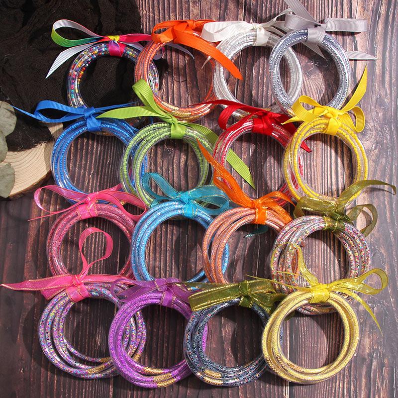 JUST FEEL 5 PCS/Set Bowknot Mulitcolor Glitter Bangles Set 2019 All Weather Stack Silicone Plastic Glitter Jelly Bangle Bracelet