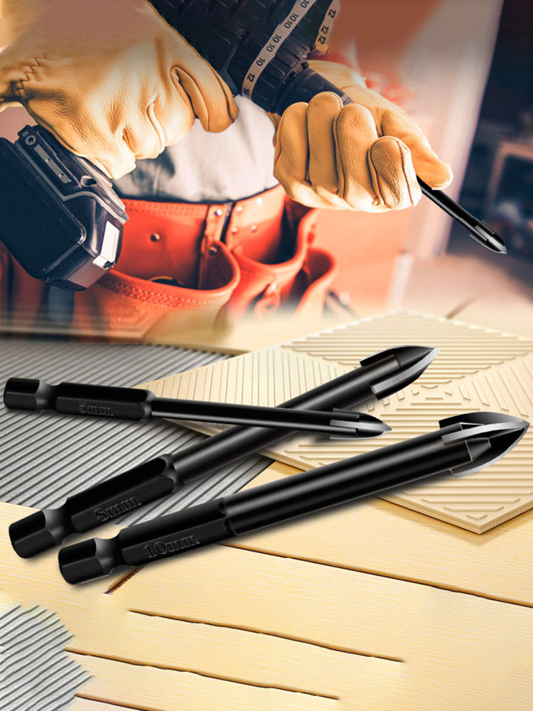 BINOAX Drill-Bit-Set Tile Glass Cross-Spear-Head Carbide-Point Tungsten-Steel 4-Cutting-Edges