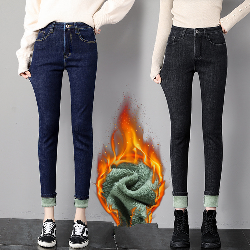 Women Winter Fleece Jeans 2019 Thicken Warm Jeans Pants High Wasit Solid Denim Trouser Sexy Streetpants Lady Pencil Pants P9270