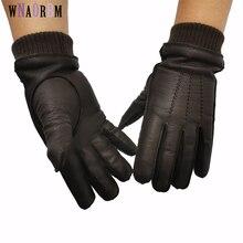 New 100% deerskin gloves men's wool lining autumn and winter warm leather gloves elastic cuffs design high quality deerskin