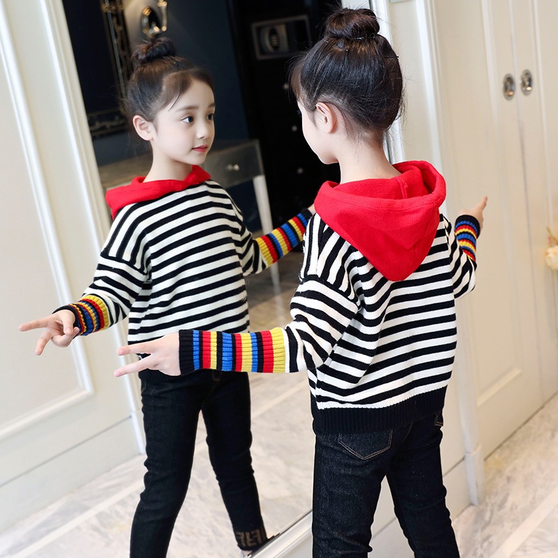 Girls Winter Hooded Stripes Sweater Rest Cartoon-Style Stripe Contrast Color Western Style Outer Wear Sweater Color Korean Wave