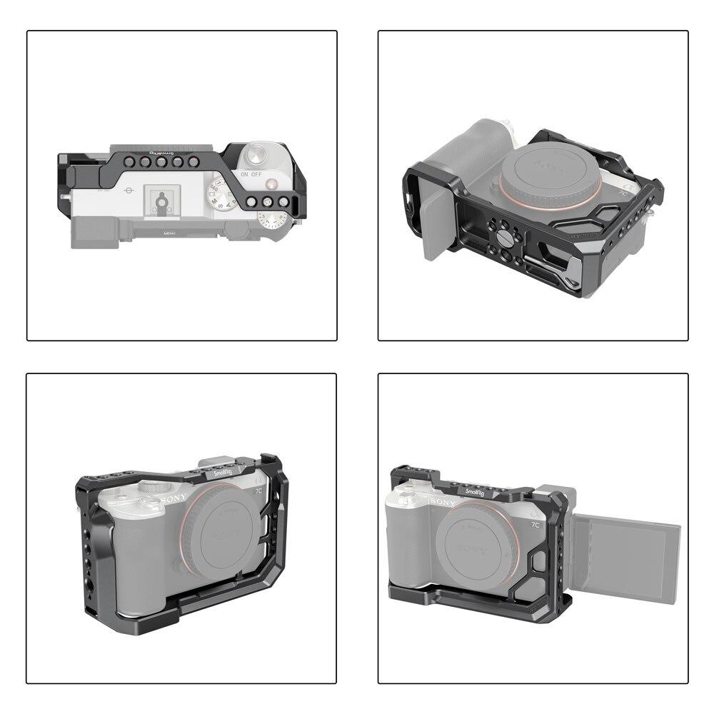 """Cage de caméra Dslr complète pour Sony A7C avec 1/4 """"-20 & 3/8""""-16 fils & montures de style ARRI léger-3081"""