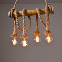 Bamboo hemp rope pendant lights creative restaurant decoration lamps retro bar table garden bamboo hunging light