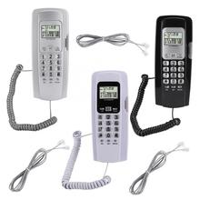 T555 Mini Wall Mounted Phone Caller ID Hotel Home Office Telephone with LCD Display Backlight Hanging Telephone